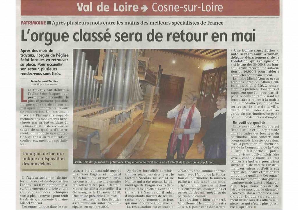 Retour de l'orgue de Cosne-sur-Loire